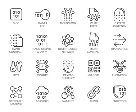 Premium Icons Pack on Blockchain System, Crypto Technology . Such Line Signs as Cryptographic, Decentralised Database . Custom Vector Icons Set for Web and App in Outline Style. Editable Stroke.