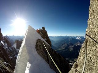 View Of Mountain Climber On Rocky Mountain