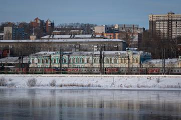 Irkutsk train station with the famous transiberian train Fototapete