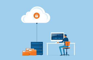 flat vector business technology storage and cloud server service concept with administrator and developer team working concept