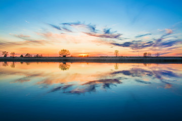 Spoed Fotobehang Blauw beautiful sky after sunset on the river, Poland