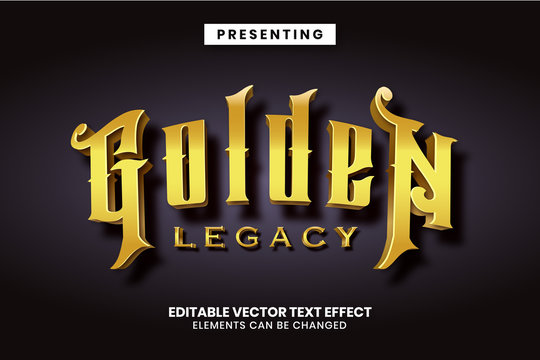 Editable text effect - Golden legacy luxury game style