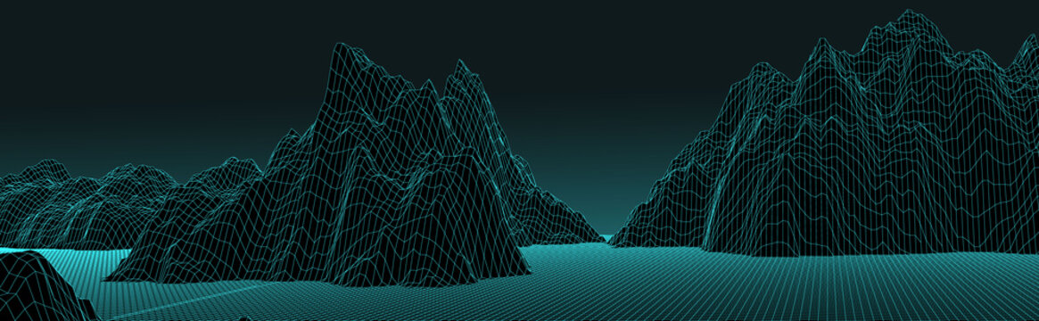 3d futuristic panoramic wireframe mountain landscape vector illustration