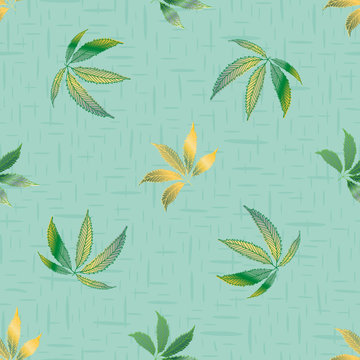 Vector cannabis leaves seamless vector pattern background. Hand drawn pastel teal hemp foliage textured backdrop. Stylish botanical marijuana design. All over print for wellness, health concept