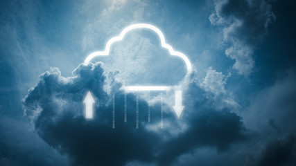 data storage technology concepts. Clouds and cloud icons that are currently downloading and uploading data.