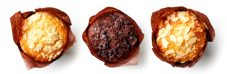Three muffins on white background, from above