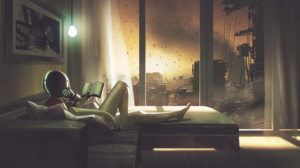 Foto auf AluDibond Grandfailure self-quarantine concept, a girl with wearing a gas mask lying on the sofa reading a book in her room, digital art style, illustration painting