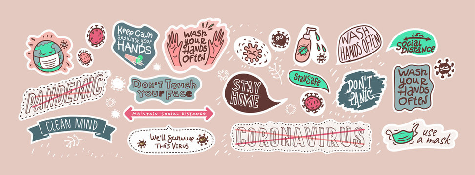 Covid-19. A set of vector illustrations about coronavirus. Stickers and graphic elements.
