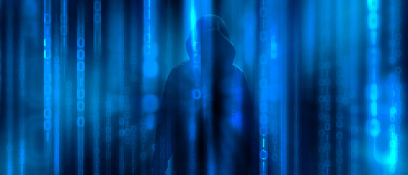 Ransomware concept. Abstract digital background with anonymous man of hacker in binary code. Hack, darkness, virtual reality and science fiction. The matrix background with cybersecurity concept.