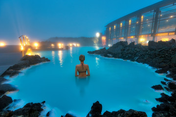 Obraz Blue Lagoon Swimming Pool in Western Iceland - fototapety do salonu