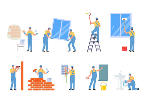 Repair professional worker character isolated set. Vector flat cartoon graphic design illustration