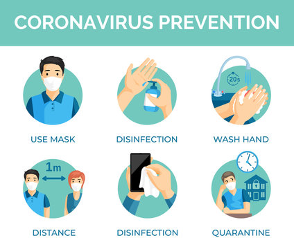 Coronavirus prevention tips. Protection measures during global pandemic of Covid-19 vector flat illustration.
