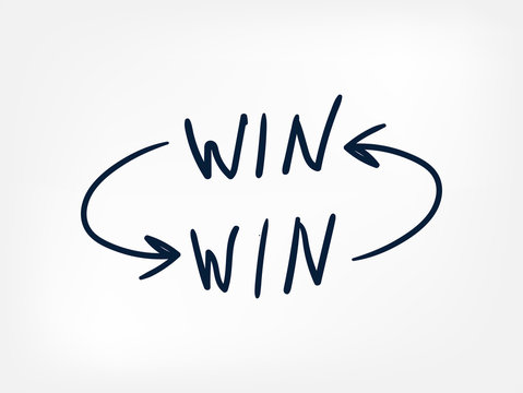 win-win concept vector line doodle hand written illustration simle