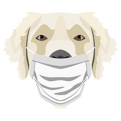 Illustration Hund Golden Retriever mit Atemschutzmaske