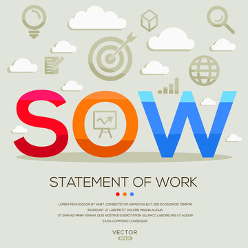 SOW mean (statement of work) ,letters and icons,Vector illustration.