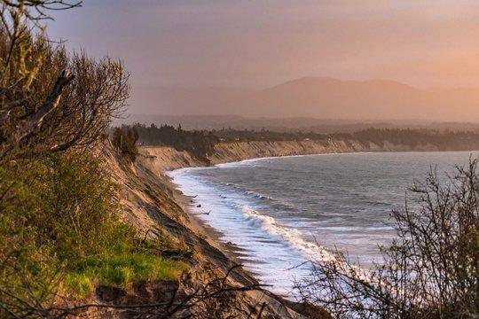 Sun lit beach in Washington State