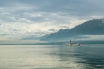 Wall Mural - Passenger boat on Lake Geneva close to city of Vevey in Switzerland