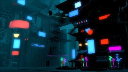 Fotomurales - Neon cyberpunk future. Futuristic city in a blue haze. 3D illustration. Night scene with multicolored neon lighting. Dark industrial landscape.
