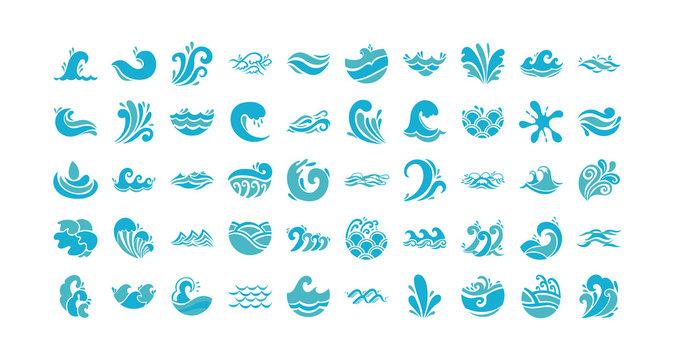 bundle of waves ocean set icons