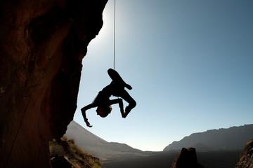 rock climber on a rock