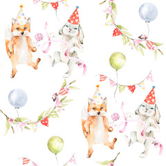 Hand drawing watercolor seamless pattern -  forest cartoon animals - cute bunny and fox, sweets, flowers, green leaves, ribbon, balloon. Perfect for cards for celebration birthday, party, baby shower.