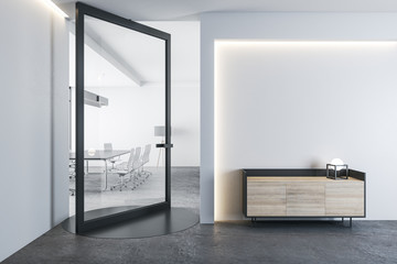 Fotomurales - Contemporary conference interior with modern swing door.