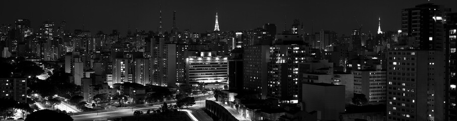 Panoramic view of São Paulo downtown at night in black and white - São Paulo - Brazil - South America Wall mural