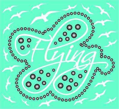 T-shirt print design on flying theme