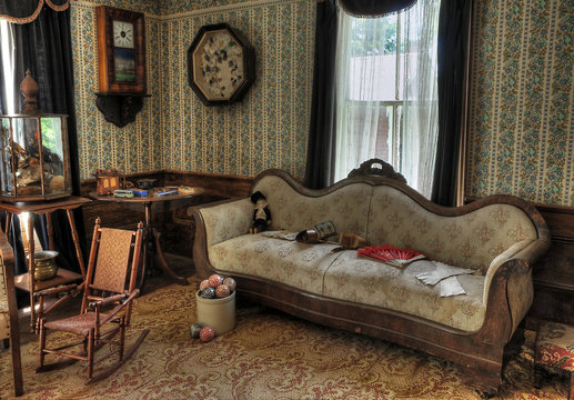 Old fashioned living room interior with sofa