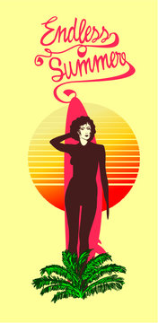 woman surfing graphic design vector art