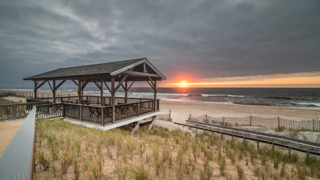 Sunrise next to the Pearl Street Pavilion in Beach Haven NJ
