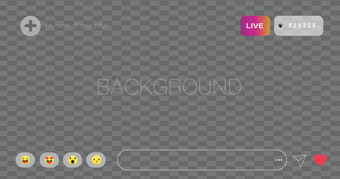 Live Stream. Background of online broadcast on social network. The template is live streaming. The user started a live streaming.