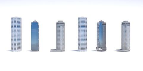 Fototapeta Set of different skyscraper buildings isolated on white. 3d illustration