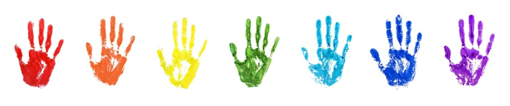 Rainbow color human hand print set white background isolated closeup, colorful watercolor drawn handprint illustration collection, palm and fingers silhouette, hand shape painted stamp, imprints group