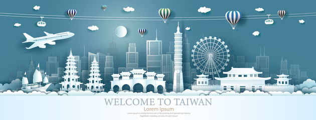 Fotomurales - Travel Asia landmarks of Taiwan with airplane, sailboat and balloons.