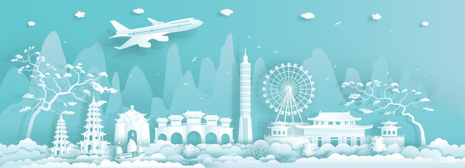 Wall Mural - Travel Asia landmarks city of Taiwan Taipei on blue background.