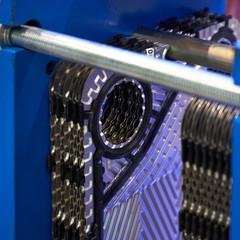 Image of an aluminum heat exchanger.