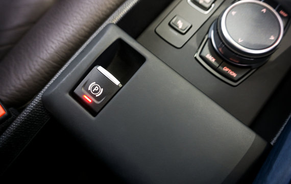 Car with an electronic handbrake , Handbrake Parking ,Brake Switch with Auto Hold Button background.