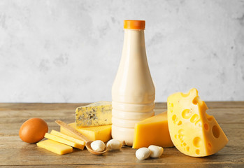 Fotobehang - Different dairy products without lactose on table