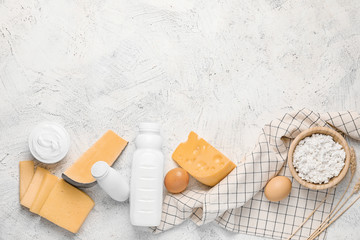 Fotobehang - Different dairy products without lactose on light background