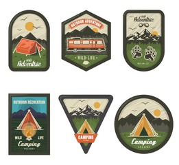 Camping club vintage logo set, vector isolated illustration