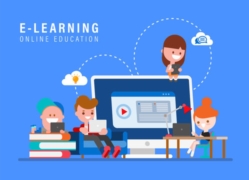 E-learning online education concept illustration. Kids studying at home via internet. Young people cartoon in flat design style vector illustration.