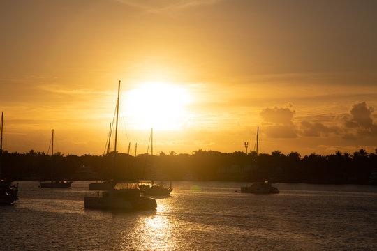 Sunset at the port with boats at Nadi Fiji