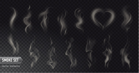 Spoed Fotobehang Rook Set of high detailed smokes from hot food or drink isolated on transparent background