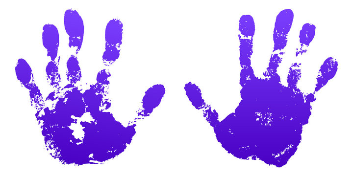 Hand paint print set, isolated white background. Violet human palm and fingers. Abstract art design, symbol identity people. Silhouette child, kid, people handprint Grunge texture. Vector illustration
