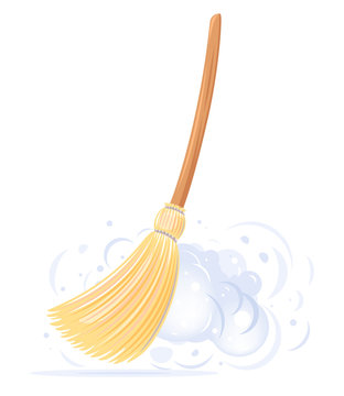 One big yellow broom sweep floor with long wooden handle and clouds of dust isolated, household implement from dust and dirt