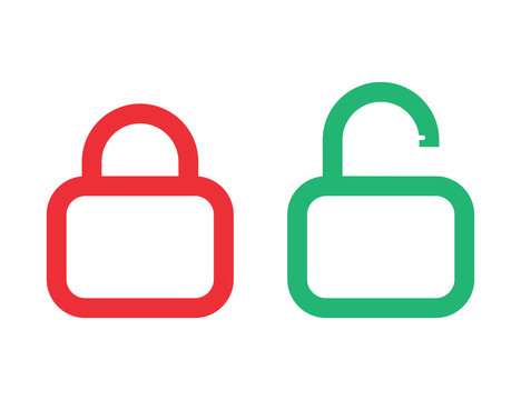 Padlock closed and opened. Isolated icon of security lock. Private illustration of safety. Lock symbok in red and green flat design. Password for computer design. Vector EPS 10.