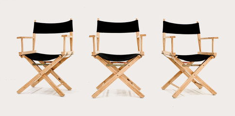 Multi angle of Director's chair isolated on white background, front left right