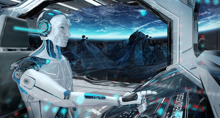 Wall Mural - Robot in a control room flying a white modern spaceship with window view on space 3D rendering