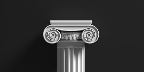 Marble pillar column classic greek against black background. 3d illustration Fototapete